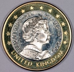 British 1971 1/2 New Penny - off-metal pattern coin - in Aluminium