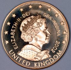 Obverse of UK €5 Pattern Coin