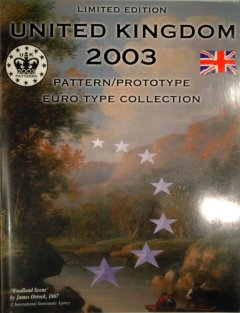 Front Cover of 2003 British 8 Coin Euro Pattern Set