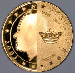 Obverse of New Swedish Pattern €5 Coin