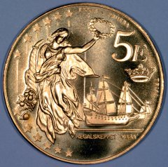 Reverse of New Swedish Pattern �5 Coin