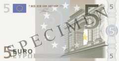 Front of 5 Euro Banknote